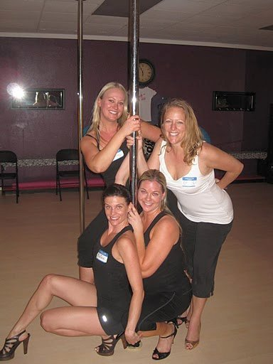 Pole Poses at Bachelorette Party